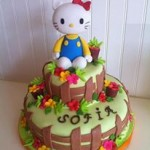 Torta Hello Kitty en su Jardín